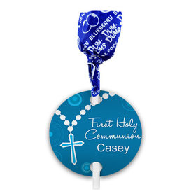 Personalized Boy First Communion Rosary Dum Dums with Gift Tag (75 pops)