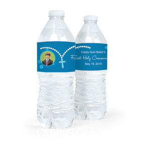 Personalized Communion Rosary Photo Water Bottle Sticker Labels (5 Labels)