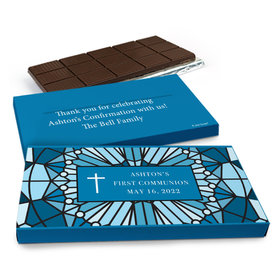 Deluxe Personalized First Communion Stained Glass Chocolate Bar in Gift Box (3oz Bar)