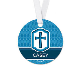 Personalized Round Framed Cross Communion Favor Gift Tags (20 Pack)