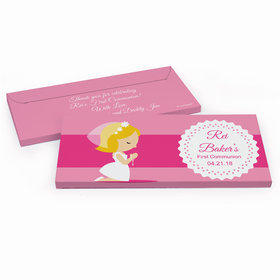 Deluxe Personalized First Communion Little Girl in Prayer Chocolate Bar in Gift Box