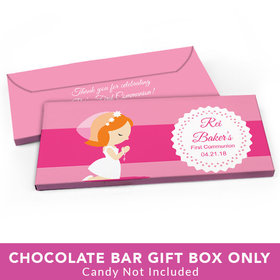 Deluxe Personalized First Communion Little Girl in Prayer Candy Bar Favor Box