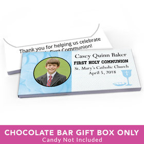 Deluxe Personalized First Communion Photo & Eucharist Candy Bar Favor Box
