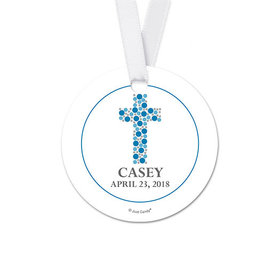 Personalized Round Stone Cross Communion Favor Gift Tags (20 Pack)