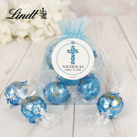 Personalized First Communion Lindt Truffle Organza Bag- Dots Cross