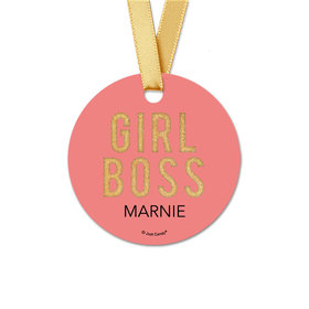 Personalized Round Girl Boss Favor Gift Tags (20 Pack)