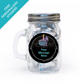 Chalk Birthday Personalized Mini Mason Jar 12 Pack