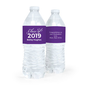 Personalized Purple Graduation Script Water Bottle Sticker Labels (5 Labels)