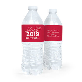 Personalized Red Graduation Script Water Bottle Sticker Labels (5 Labels)