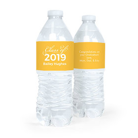 Personalized Yellow Graduation Script Water Bottle Sticker Labels (5 Labels)