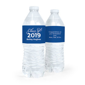 Personalized Blue Graduation Script Water Bottle Sticker Labels (5 Labels)