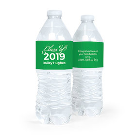 Personalized Green Graduation Script Water Bottle Sticker Labels (5 Labels)