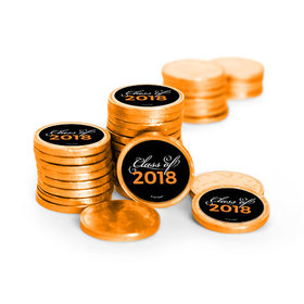 Graduation Script Orange Chocolate Coins with Stickers (72 Pack)