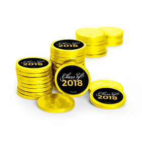 Graduation Script Yellow Chocolate Coins with Stickers (72 Pack)