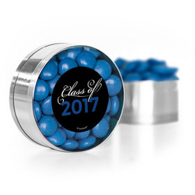 Blue Graduation Script Small Silver Plastic Tin with Just Candy Blue Minis