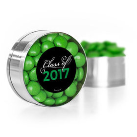 Green Graduation Script Small Gold Plastic Tin with Just Candy Green Minis