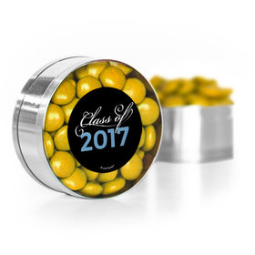 Baby Blue Graduation Script Small Gold Plastic Tin with Just Candy Gold Minis