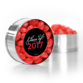 Red Graduation Script Small Gold Plastic Tin with Just Candy Red Jelly Beans