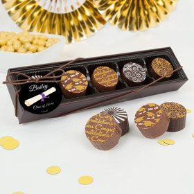 Personalized Graduation Scroll Gourmet Chocolate Truffle Gift Box (5 Truffles)