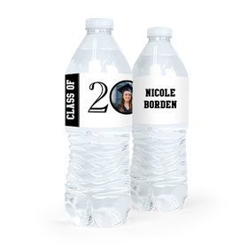 Personalized Graduation Circle Year Photo Water Bottle Sticker Labels (5 Labels)
