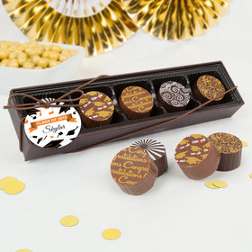 Personalized Graduation Tossed Hats Gourmet Chocolate Truffle Gift Box (5 Truffles)