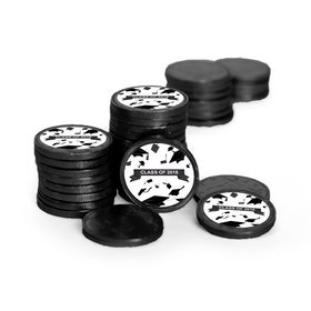 Graduation Hats Off Black Chocolate Coins with Black Stickers (72 Pack)