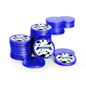 Graduation Hats Off Royal Blue Chocolate Coins with Stickers (72 Pack)