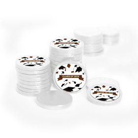 Graduation Hats Off White Foil Chocolate Coins with Brown Stickers (72 Pack)