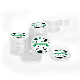 Graduation Hats Off White Foil Chocolate Coins with Green Stickers (72 Pack)