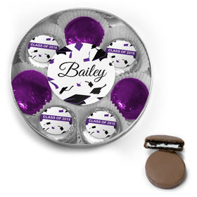 Personalized Purple Graduation Hats Off Belgian Chocolate Covered Oreo Cookies Large Silver Plastic Tin
