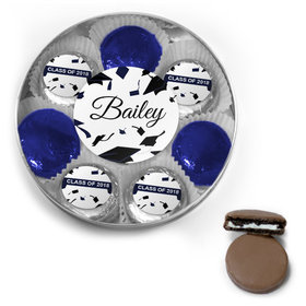 Personalized Royal Blue Graduation Hats Off Belgian Chocolate Covered Oreo Cookies Large Silver Plastic Tin