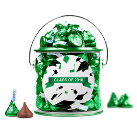 Graduation Hats Off Green Paint Can with Sticker