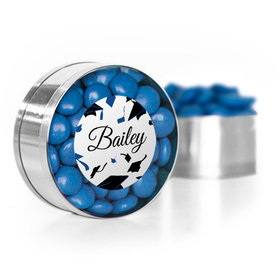 Personalized Blue Graduation Hats off Small Gold Plastic Tin with Just Candy Blue Minis