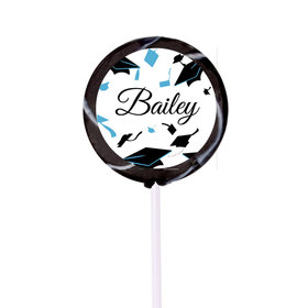 Personalized Graduation Hats Off Small Black Swirly Pop (24 Pack)