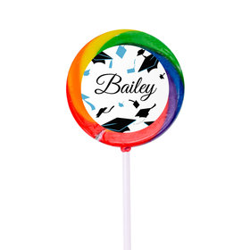 Personalized Graduation Hats Off Small Rainbow Swirly Pop (24 Pack)