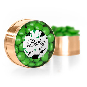 Personalized Green Graduation Hats off Small Gold Plastic Tin with Just Candy Green Minis