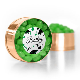 Personalized Green Graduation Hats off Small Gold Plastic Tin with Just Candy Green Jelly Beans