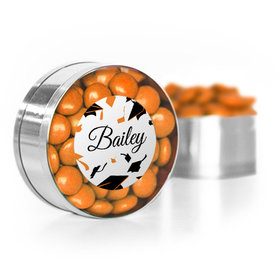 Personalized Orange Graduation Hats off Small Gold Plastic Tin with Just Candy Orange Minis