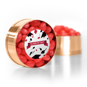 Red Graduation Hats off Small Gold Plastic Tin with Just Candy Red Jelly Beans