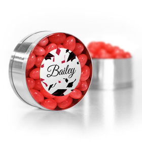 Personalized Red Graduation Hats off Small Gold Plastic Tin with Just Candy Red Jelly Beans