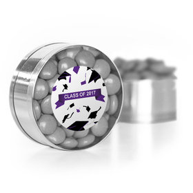 Purple Graduation Hats off Small Silver Plastic Tin with Just Candy Grey Minis