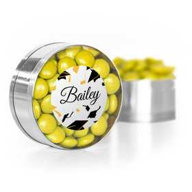 Personalized Yellow Graduation Hats off Small Gold Plastic Tin with Just Candy Yellow Minis