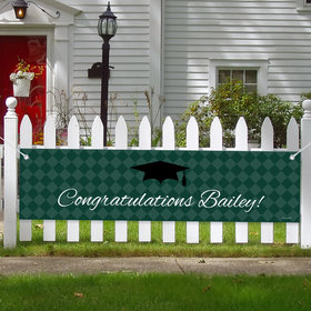 Personalized Checker Pattern Graduation 5 Ft. Banner