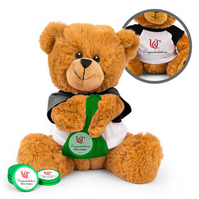Personalized Graduation Add Your School Logo Teddy Bear with Chocolate Coins in XS Organza Bag