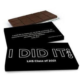Deluxe Personalized Graduation I Did It! Chocolate Bar in Gift Box (3oz Bar)