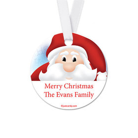 Personalized Round Christmas Santa Favor Gift Tags (20 Pack)