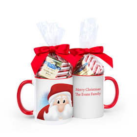 Personalized Christmas Santa 11oz Mug with Ghirardelli Peppermint Bark Squares