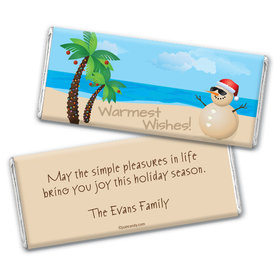 Happy Holidays Personalized Chocolate Bar Wrappers Beach Wishes