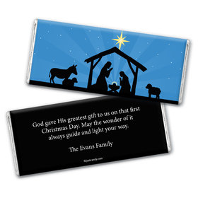 Christmas Personalized Chocolate Bar Wrappers Holy Night Nativity