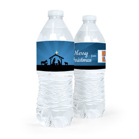 Personalized Christmas Holy Night Nativity Water Bottle Sticker Labels (5 Labels)